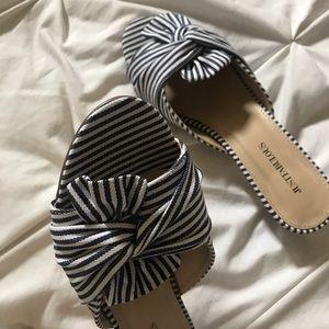 JustFab Shoes - Striped Open-Toed Kitten Heel Mules